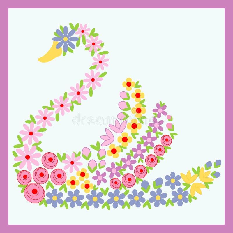 Cisne floral ilustração stock