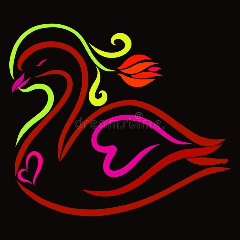 Cisne hermoso con una flor y corazones en un fondo negro ilustración del vector