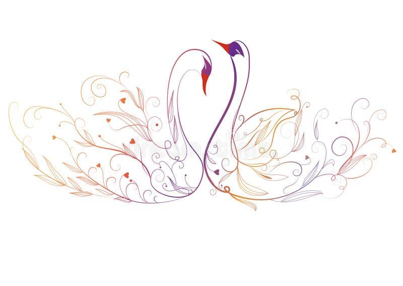 Cisne y flor stock de ilustración
