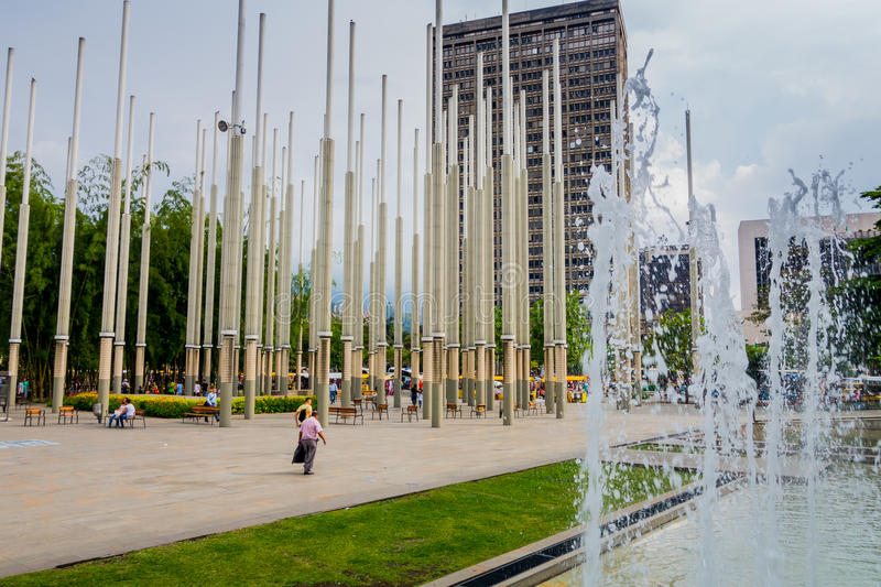 Cisneros πλατεία ή πάρκο των φω'των σε Medellin στοκ εικόνες