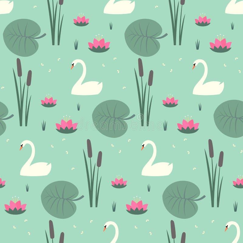 Cisnes blancos, lirio de agua, espadaña y modelo inconsútil de las hojas en fondo del verde menta ilustración del vector