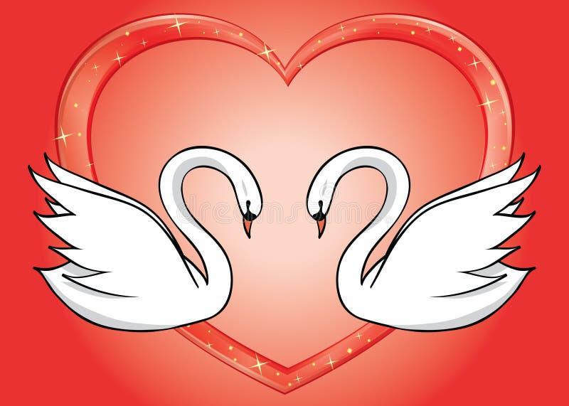 Cisnes blancos y corazón rojo - tarjeta stock de ilustración
