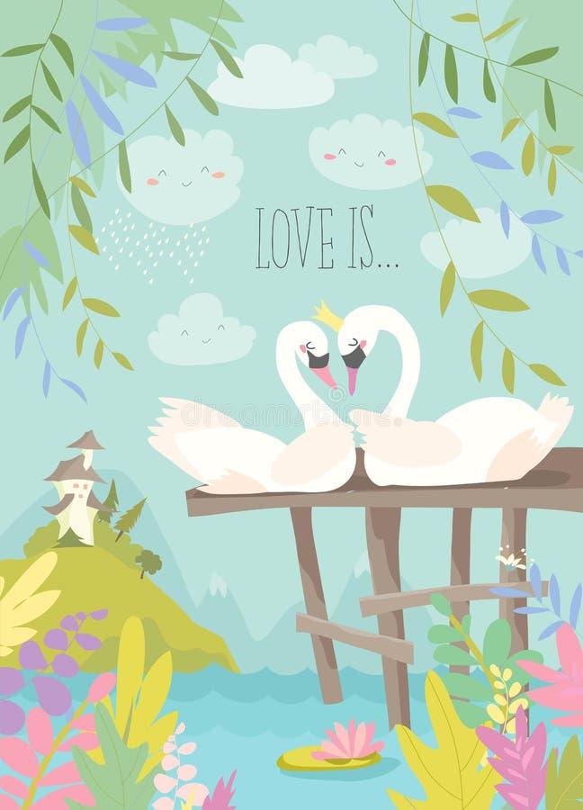 Cisnes de la historieta en amor Concepto del cuento de hadas libre illustration