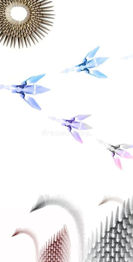 Cisnes de Origami ilustração royalty free