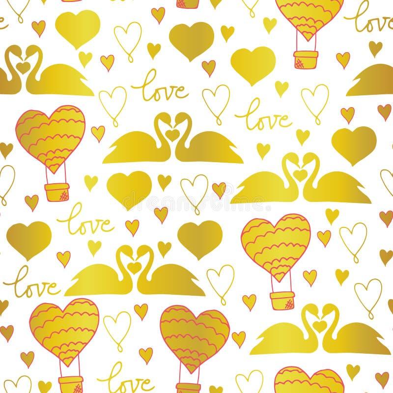 Cisnes del modelo del vector en el amor para día de San Valentín, la boda, los acontecimientos románticos, y el amor ilustración del vector