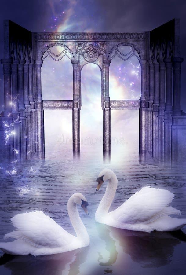 Cisnes místicos con la puerta divina como concepto soñador mágico surrealista artístico stock de ilustración