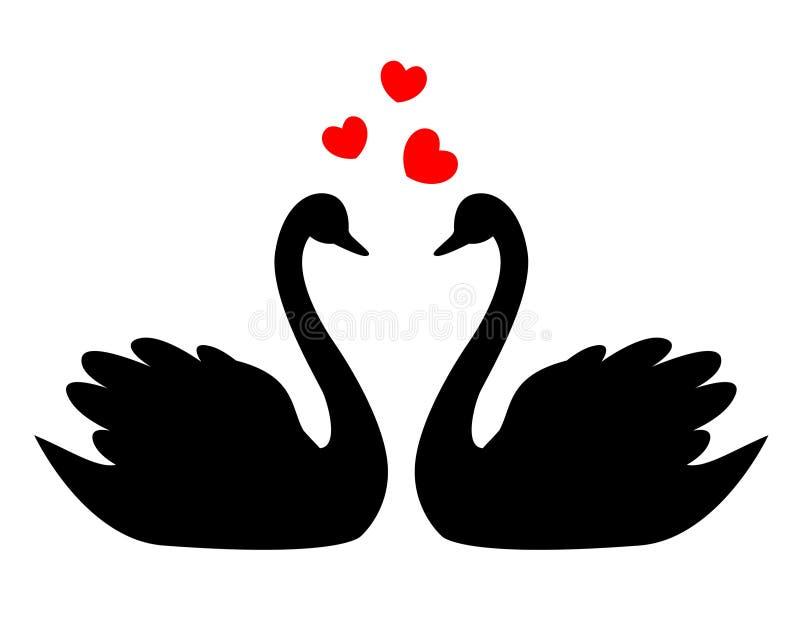 Cisnes no amor ilustração stock