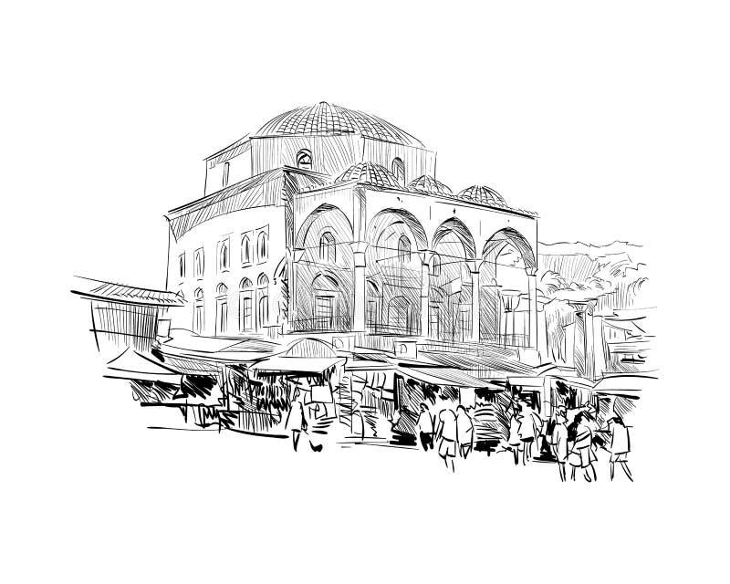Cistarakis meczet athens Grecja Ręka rysujący nakreślenie również zwrócić corel ilustracji wektora royalty ilustracja