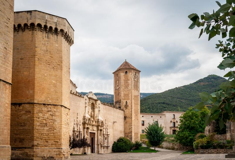 Cistercian Monastery of Santa Maria de Poblet or Monestir de Poblet in the Catalonia region of Spain. stock images