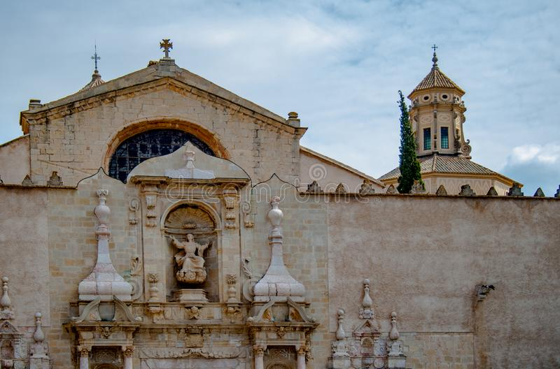 Cistercian Monastery of Santa Maria de Poblet or Monestir de Poblet in the Catalonia region of Spain. Dates from the 1150. The Poblet monastery is declared a royalty free stock photography