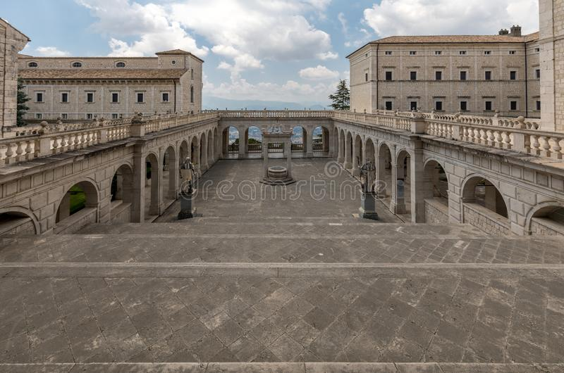 Cistern in the Cloister of Bramante, Benedictine abbey of Monte Cassino. Italy stock photography
