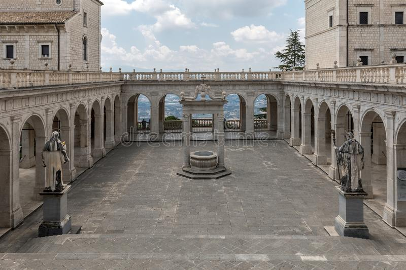 Cistern in the Cloister of Bramante, Benedictine abbey of Montecassino. royalty free stock images