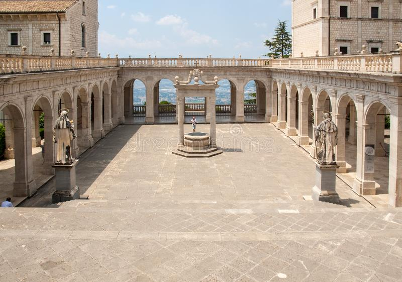 Cistern in the Cloister of Bramante, Benedictine abbey of Montecassino. Italy stock photos
