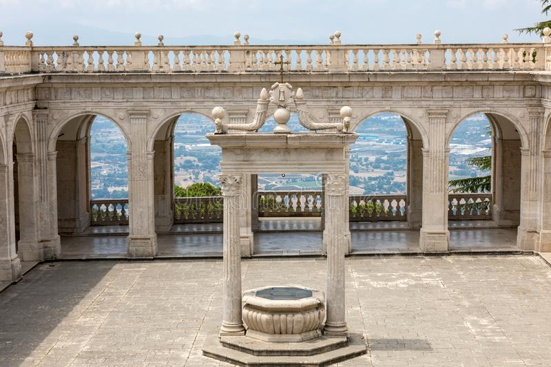 Cistern in the Cloister of Bramante, Benedictine abbey of Montecassino. Italy stock image