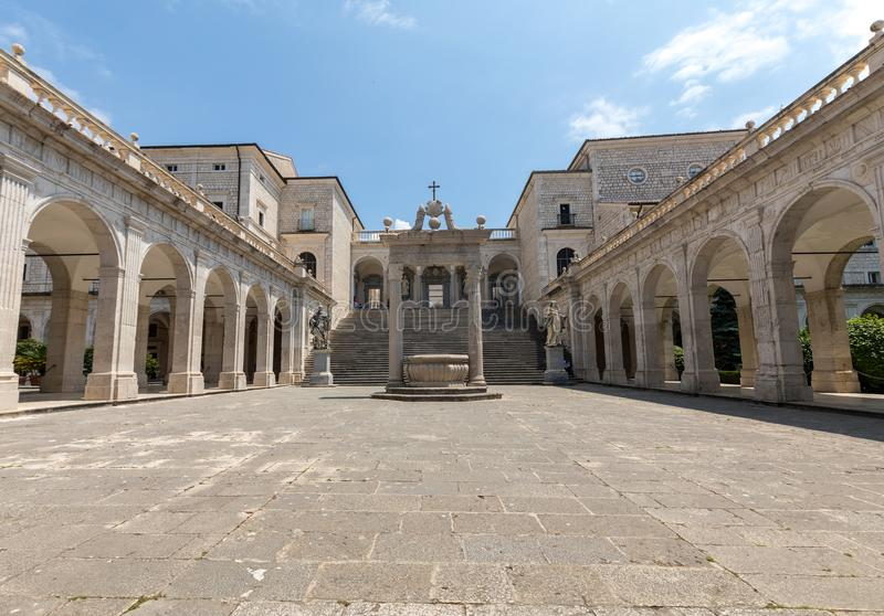 Cistern and statues of St. Benedict and St. Scholastica in the Cloister of Bramante, Benedictine abbey of Monte Cassino. Italy royalty free stock photography