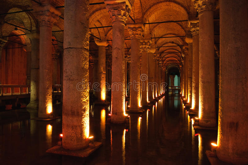 Cisterna da basílica, Istambul imagens de stock
