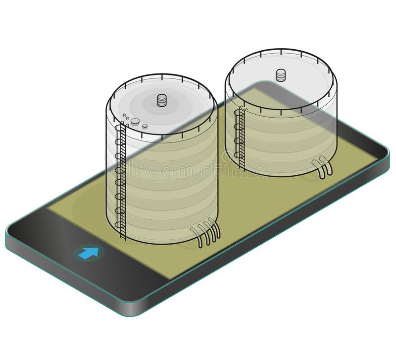 Cisterna descritta della benzina, costruzione isometrica in telefono cellulare Carro armato di gas sulle colonne in tecnologia de illustrazione vettoriale