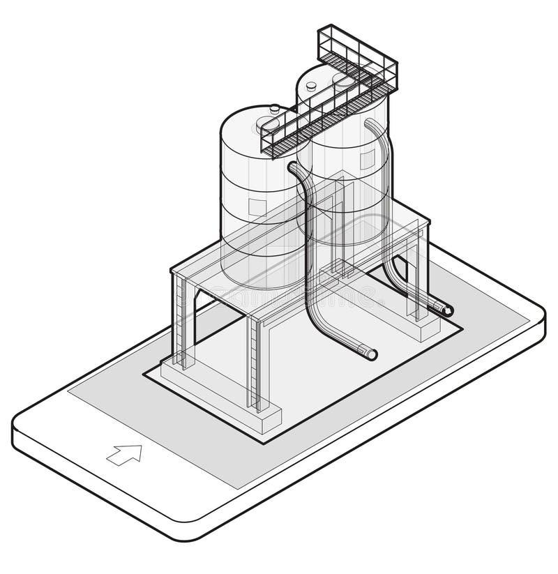 Cisterna descritta della benzina, costruzione isometrica in telefono cellulare Carro armato di gas sulle colonne in tecnologia de illustrazione di stock