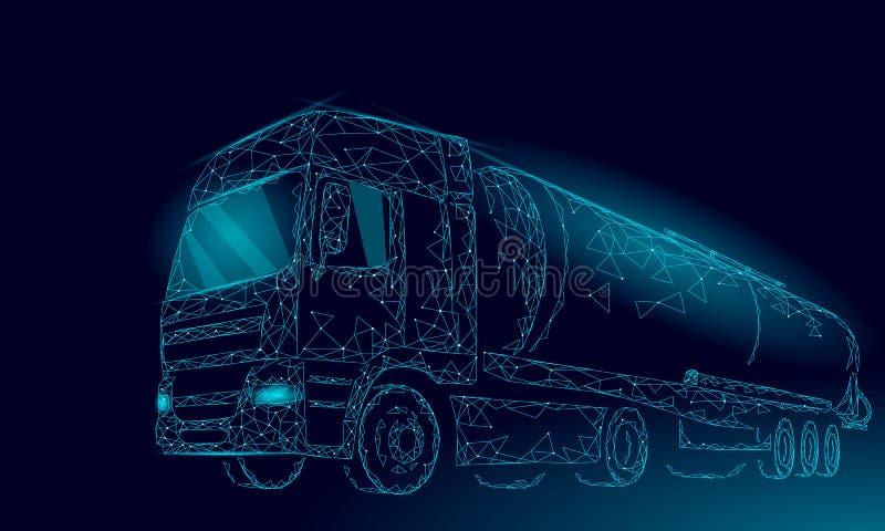 Cisternen 3D för oljalastbilhuvudvägen framför lågt poly Behållare för bransch för bränsleoljafinans diesel- Stor last för cylind vektor illustrationer