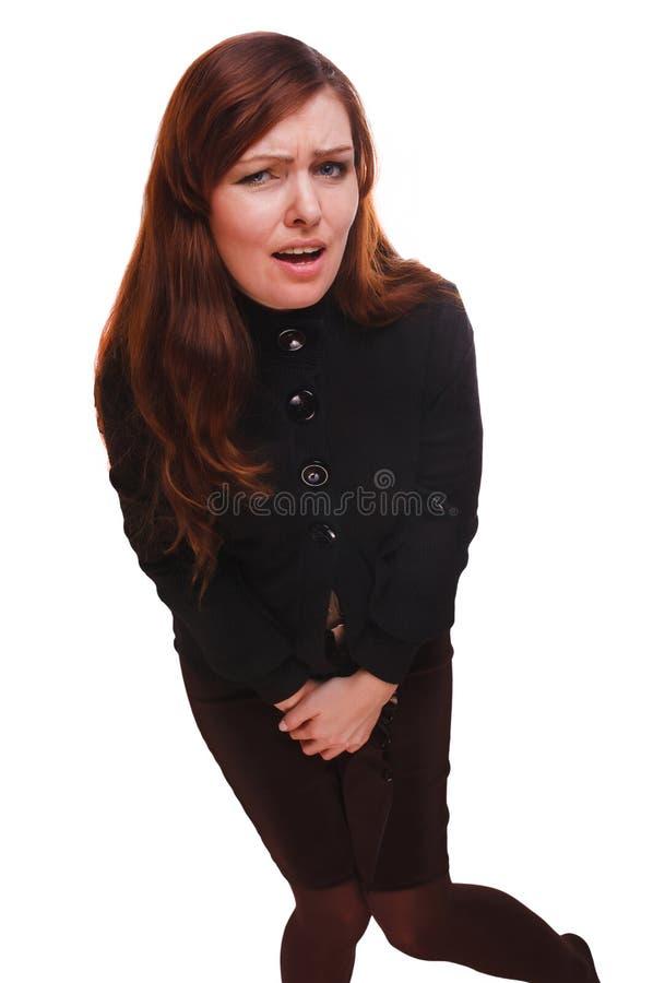 Cistitis abdominal de la vejiga del dolor y de la diarrea de la mujer enferma de la muchacha pálida imagen de archivo