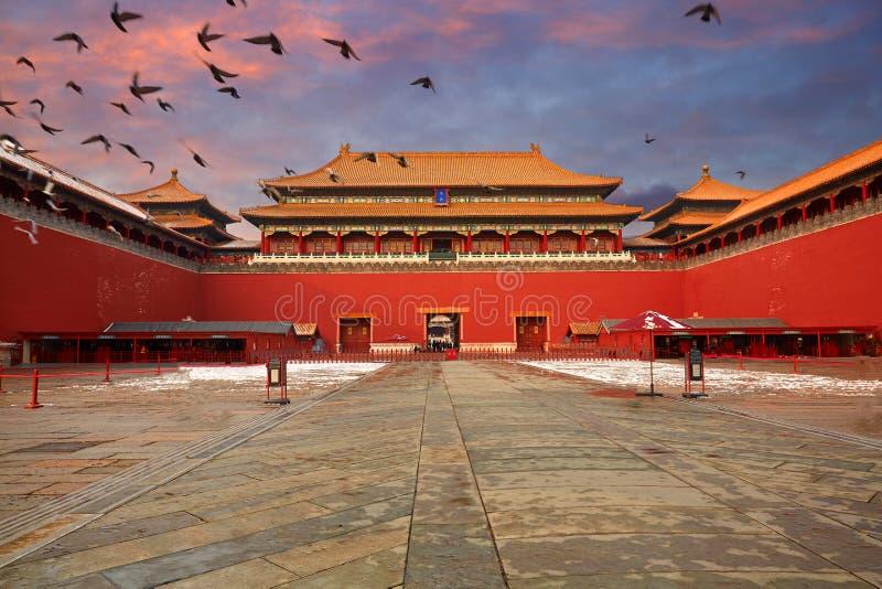 Cité interdite et neige, Pékin photographie stock libre de droits