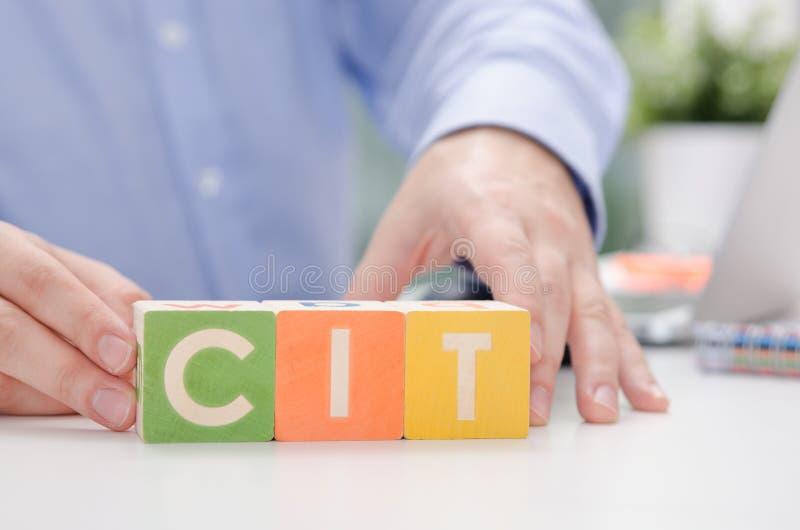 CIT słowo z kolorowymi blokami obraz stock