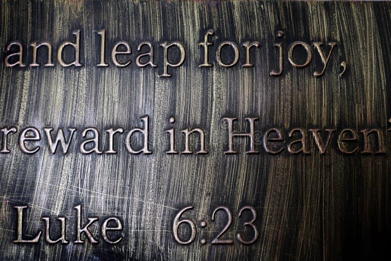 Citação de Escrituras do Novo Testamento Luke imagem de stock