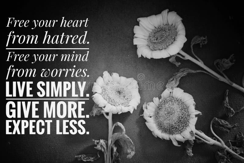 Citação inspiradora - Liberte seu coração do ódio Liberte sua mente das preocupações Viva simplesmente Dê mais, espere menos imagem de stock royalty free