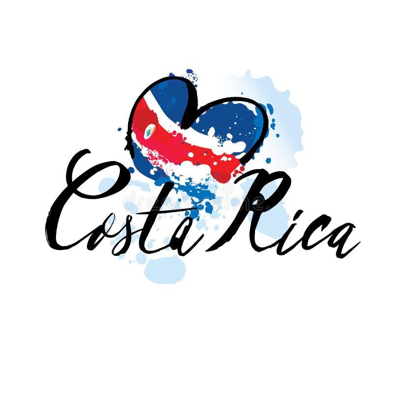 Citações caligráficas escritas mão Costa Rica da rotulação com elementos decorativos em cores da bandeira Objetos isolados no bra ilustração stock
