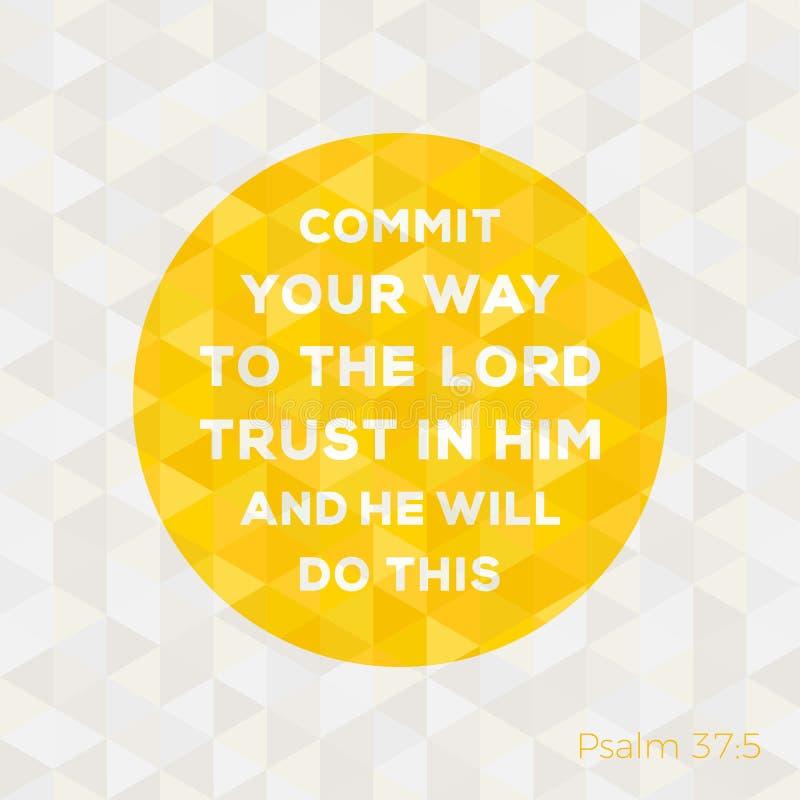 Citações da Bíblia do salmo sobre a confiança no deus ilustração royalty free