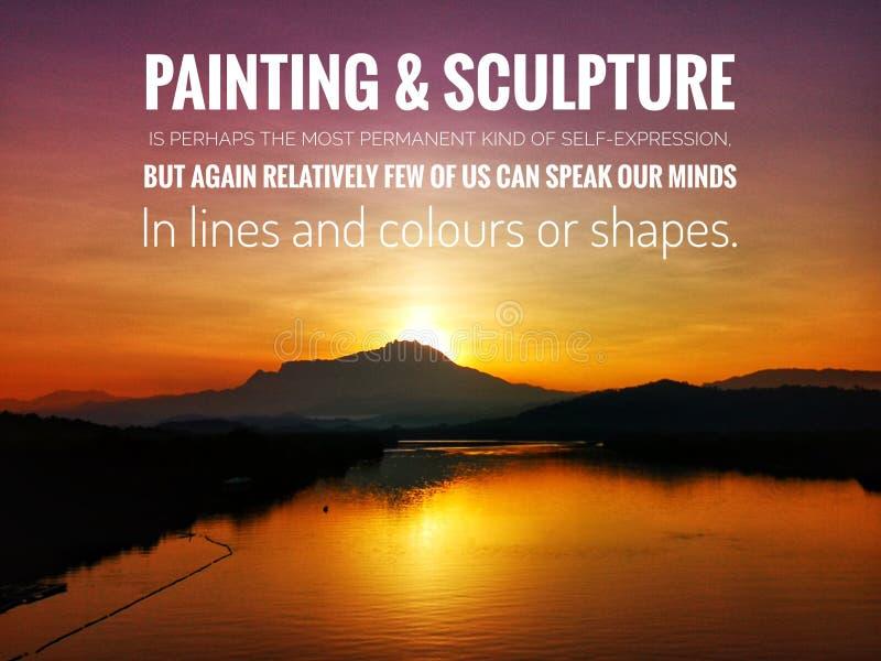 Citações da pintura e da escultura com fundo bonito do por do sol ilustração royalty free