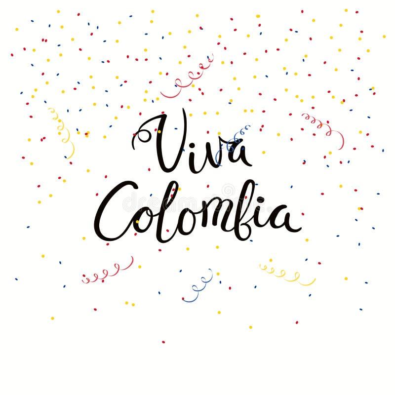 Citações da rotulação de Viva Colombia ilustração do vetor