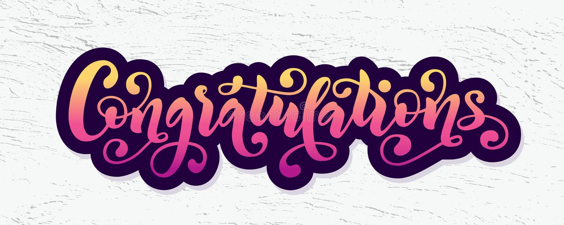 Citações da rotulação da mão das felicitações Palavra moderna tirada mão dos congrats da caligrafia da escova Ilustração do texto ilustração stock