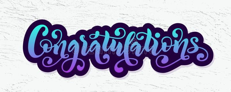 Citações da rotulação da mão das felicitações Palavra moderna tirada mão dos congrats da caligrafia da escova Ilustração do texto ilustração do vetor