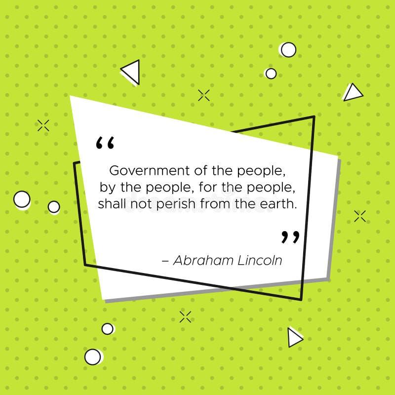 Citações de Abraham Lincoln sobre o governo ilustração royalty free