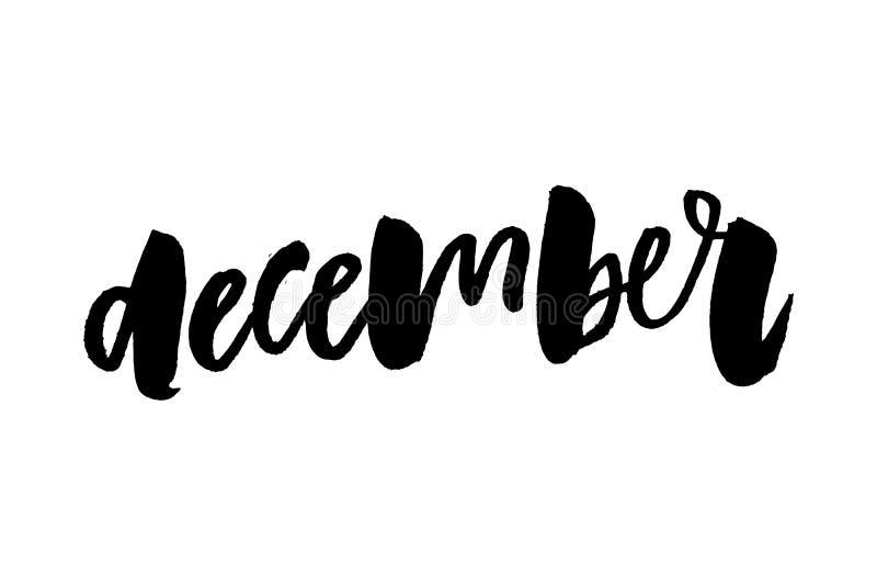 Citações de dezembro no fundo azul Cartão do feriado com abeto vermelho, neve e elementos da caligrafia Rotulação moderna escrita ilustração do vetor