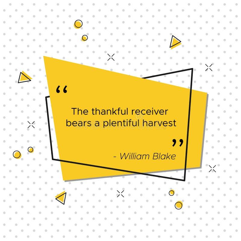Citações do dia da ação de graças do poeta William Blake ilustração do vetor