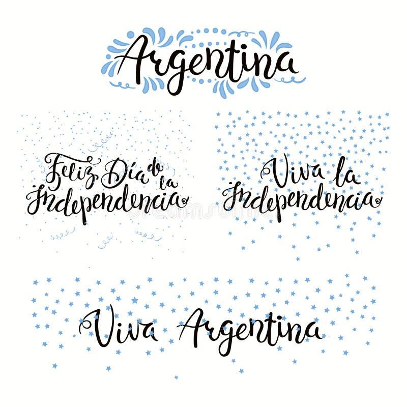 Citações do Dia da Independência de Argentina ilustração stock