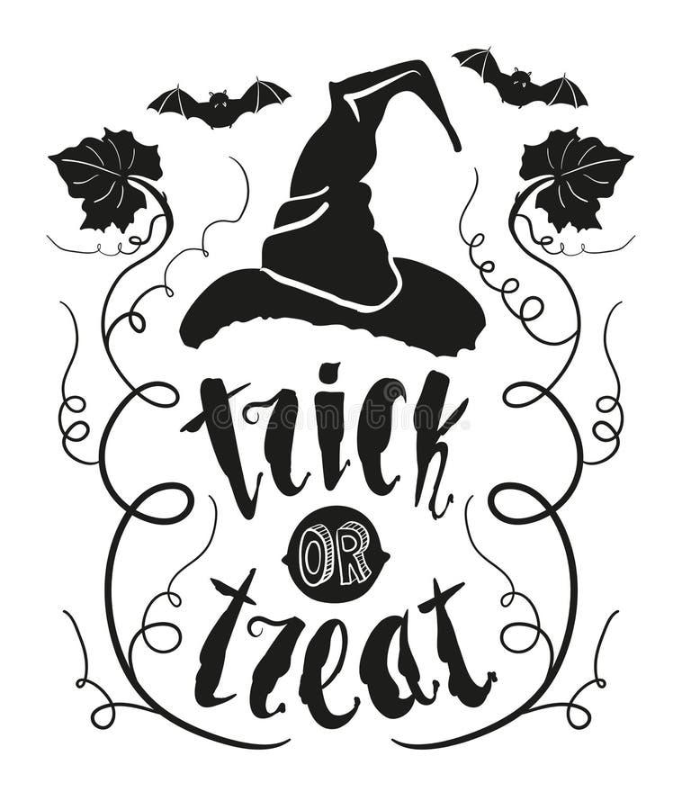 Citações do Dia das Bruxas da doçura ou travessura com a folha da abóbora e o chapéu da bruxa isolados no fundo branco do quadro  ilustração do vetor