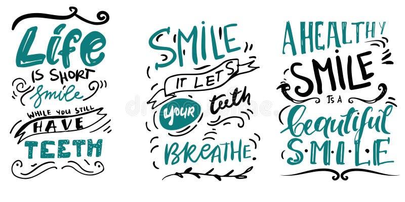 Citações do sorriso para seu projeto Ilustração da rotulação da mão ilustração do vetor