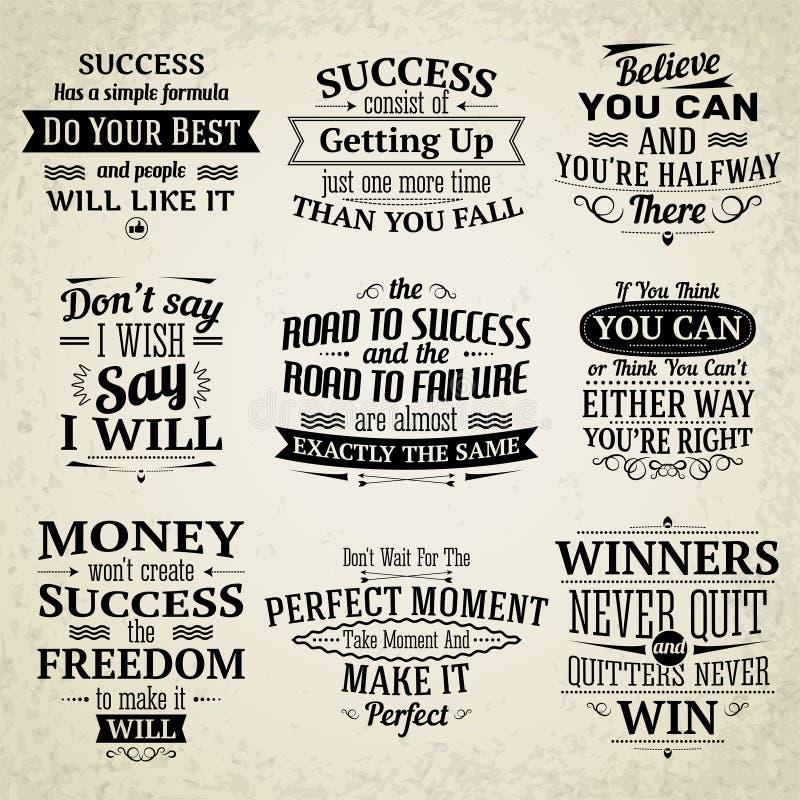 Citações do sucesso ajustadas ilustração do vetor