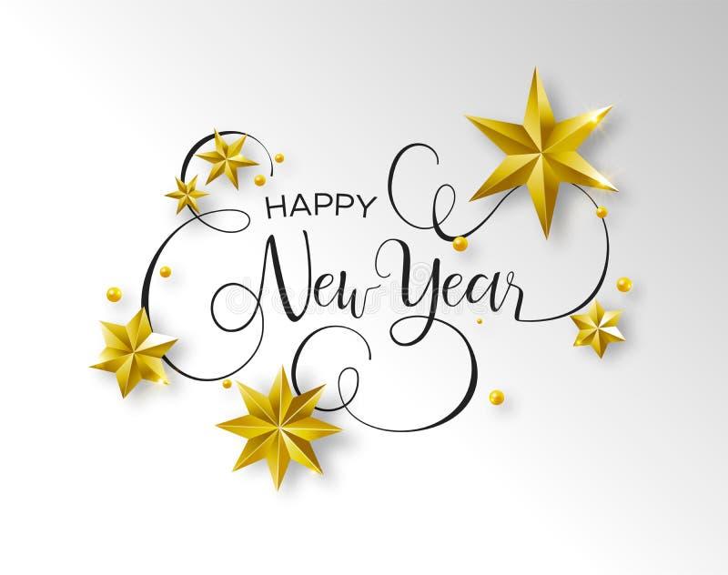 Citações do texto da caligrafia do ano novo com estrelas do ouro ilustração stock