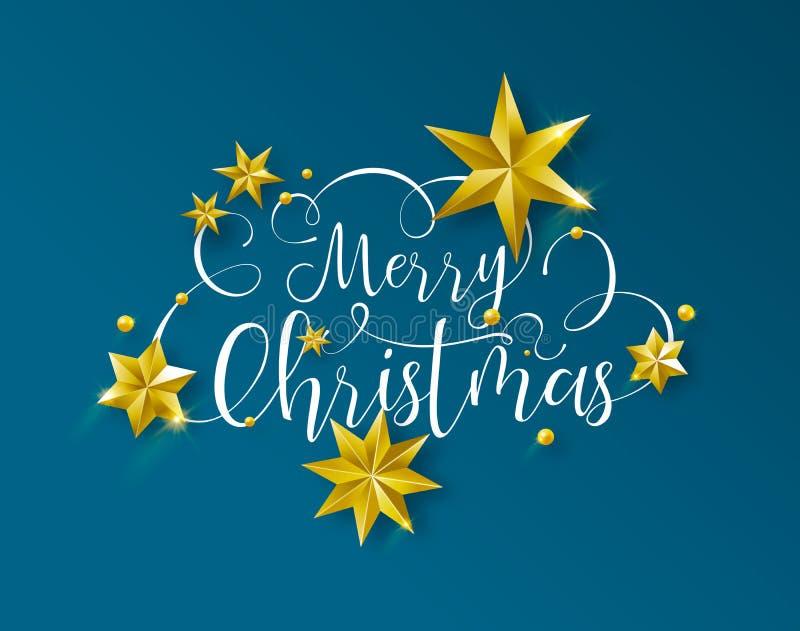 Citações do texto da caligrafia do Natal com estrelas do ouro ilustração stock