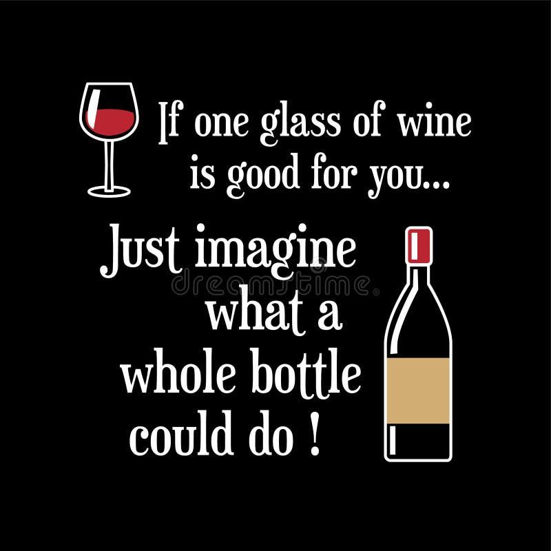 Citações e provérbio engraçados do vinho imagem de stock royalty free
