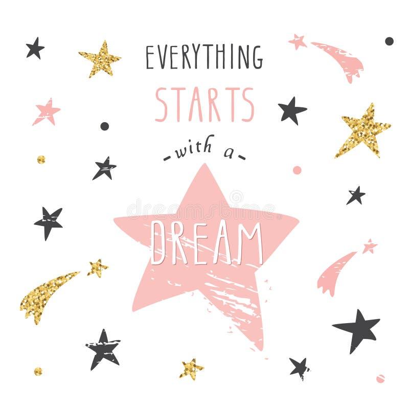 Citações escritas à mão inspiradas e inspiradores da rotulação Cada começos com um sonho ilustração stock