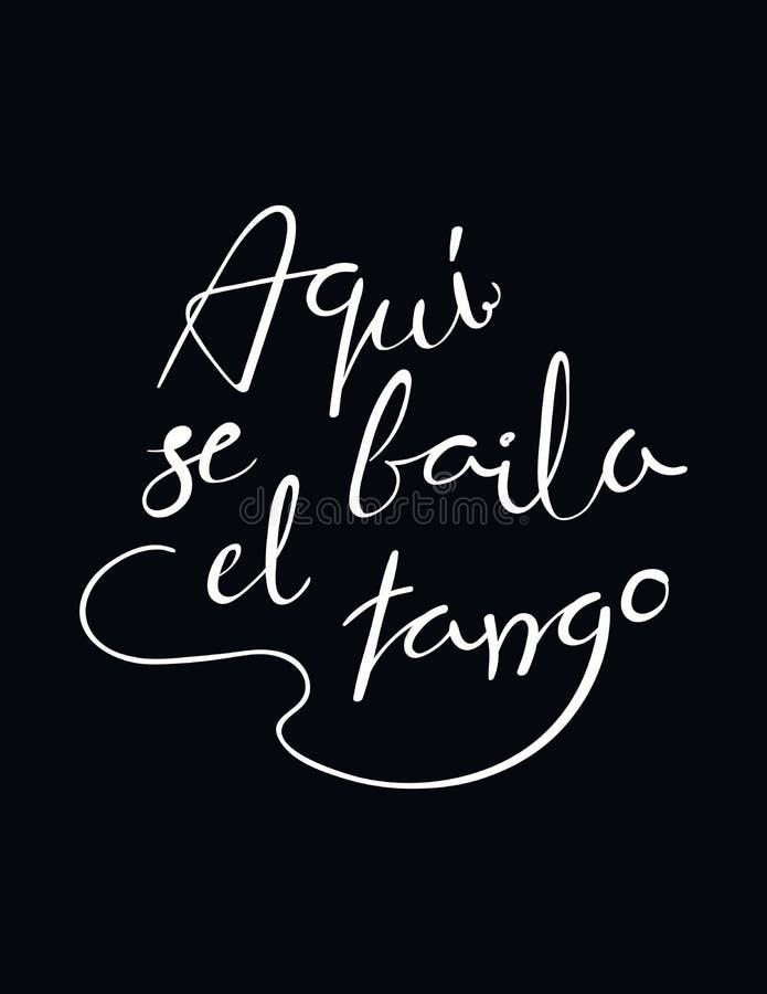 Citações escritas mão do tango ilustração do vetor