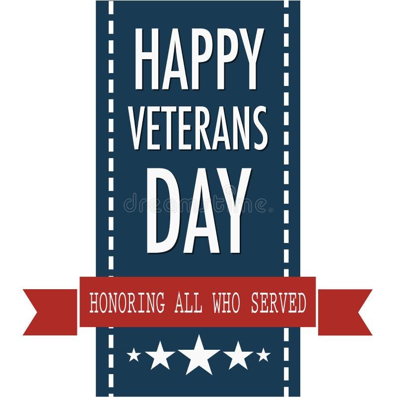 Citações felizes do dia de veteranos para o dia do veterinário nos EUA ilustração royalty free