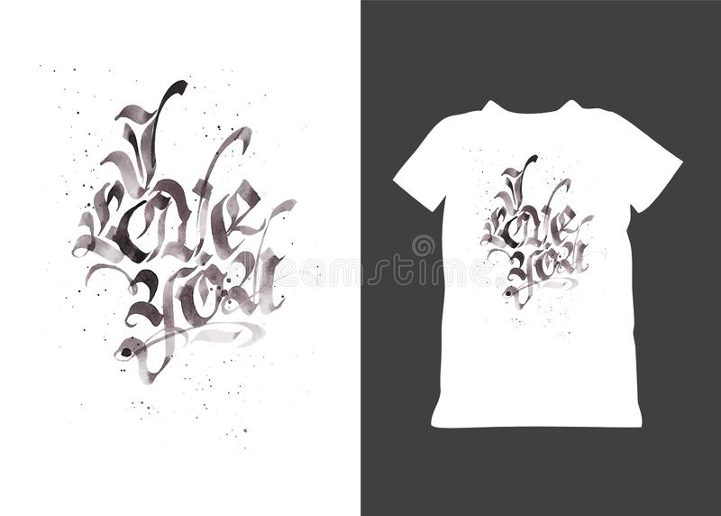 Citações góticos tiradas mão eu te amo Texto isolado do grunge Valentim sujos logotipo da tipografia para o t-shirt do feriado, b ilustração royalty free
