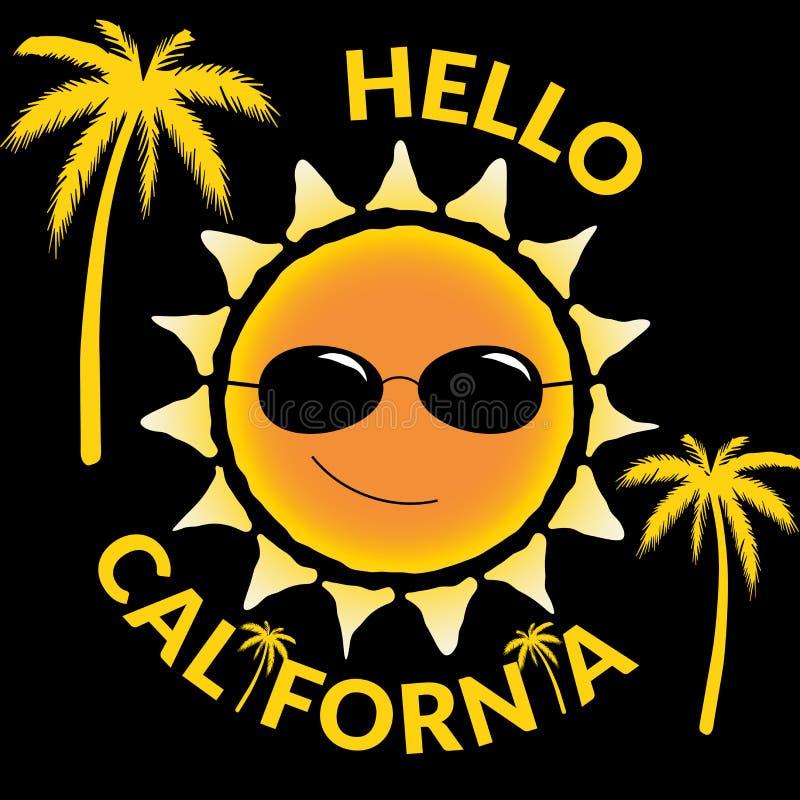 Citações gráficas olá! Califórnia da tipografia da camisa de T ilustração royalty free