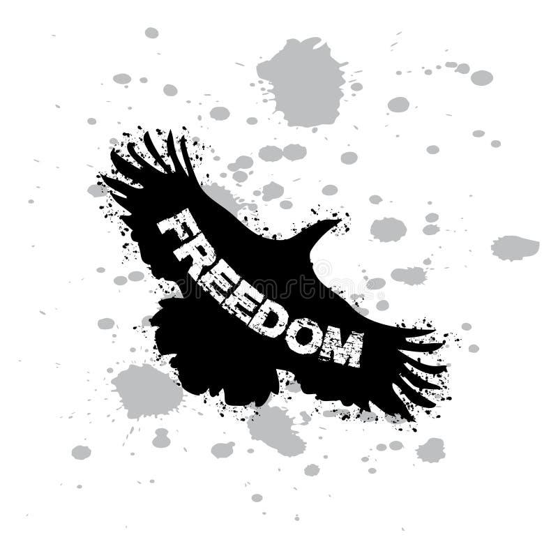 Citações inspiradas da liberdade com o pássaro de voo da forma ilustração stock